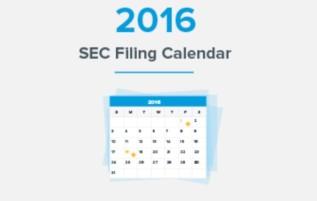 2016 SEC FilingCalendar